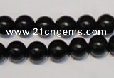 CNE05 15.5 inches 12mm round black stone needle beads wholesale