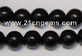 CNE07 15.5 inches 16mm round black stone needle beads wholesale