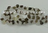 CNG1158 8*12mm - 13*18mm nuggets white crystal & smoky quartz beads