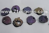 CNG1563 30*40mm - 40*50mm freeform plated druzy agate beads