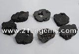CNG1565 30*40mm - 40*50mm freeform plated druzy agate beads