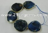 CNG1638 8 inches 40*45mm - 45*50mm freeform agate beads with brass setting