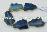 CNG1652 8 inches 35*50mm - 45*65mm freeform agate beads with brass setting