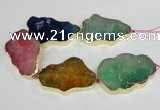 CNG1690 8 inches 35*50mm - 45*65mm freeform agate beads with brass setting