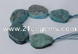 CNG2173 7.5 inches 25*35mm - 35*40mm freeform druzy agate beads