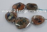 CNG2178 8 inches 40*45mm - 45*50mm freeform agate beads with brass setting