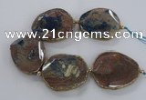 CNG2181 8 inches 40*45mm - 45*50mm freeform agate beads with brass setting