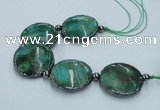 CNG2191 7.5 inches 30mm flat round agate beads with brass setting