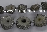 CNG2935 15.5 inches 8*10mm - 15*18mm freeform plated druzy agate beads
