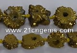 CNG2937 15.5 inches 8*10mm - 15*18mm freeform plated druzy agate beads