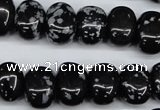 CNG31 15.5 inches 11*15mm nuggets snowflake obsidian gemstone beads