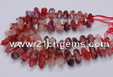 CNG3204 10*25mm - 12*45mm faceted nuggets pink quartz beads