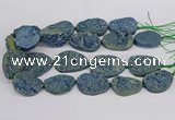 CNG3277 22*30mm - 30*40mm freeform plated druzy agate beads