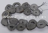 CNG3293 30*35mm - 35*40mm freeform plated druzy agate beads