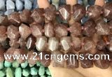 CNG3606 13*20mm - 15*24mm faceted nuggets strawberry quartz beads
