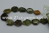 CNG5314 15.5 inches 20*30mm - 35*45mm freeform green garnet beads