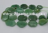 CNG5361 20*30mm - 35*45mm faceted freeform green aventurine beads