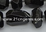CNG5373 12*16mm - 18*25mm faceted nuggets black tourmaline beads
