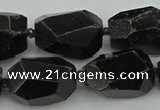 CNG5395 12*16mm - 15*25mm faceted nuggets black tourmaline beads