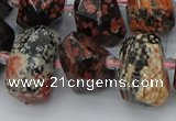 CNG5415 12*16mm - 15*20mm faceted nuggets red snowflake obsidian beads