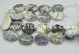 CNG5598 20*30mm - 35*45mm faceted freeform white opal gemstone beads