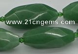 CNG5614 15.5 inches 15*35mm - 18*40mm faceted rice green aventurine beads