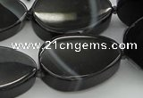 CNG5618 15.5 inches 22*30mm freeform black agate gemstone beads
