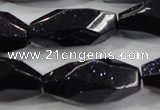 CNG583 15.5 inches 14*33mm faceted nuggets blue goldstone beads