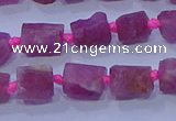 CNG5912 15.5 inches 4*6mm - 6*10mm nuggets rough pink tourmaline beads