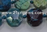 CNG5941 10*14mm - 12*16mm faceted freeform chrysocolla beads
