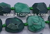 CNG5953 15.5 inches 10*12mm - 10*14mm faceted freeform malachite beads