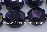 CNG5956 12*16mm - 15*18mm faceted freeform black tourmaline beads