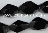 CNG606 12*20mm – 14*24mm faceted nuggets black agate beads
