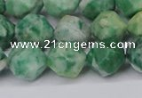 CNG6116 15.5 inches 8mm faceted nuggets Qinghai jade beads