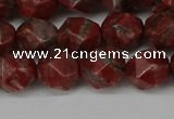 CNG6123 15.5 inches 8mm faceted nuggets brecciated jasper beads