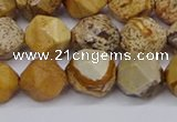 CNG6126 15.5 inches 8mm faceted nuggets picture jasper beads