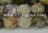 CNG6152 15.5 inches 10mm faceted nuggets silver needle agate beads