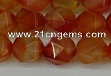 CNG6158 15.5 inches 10mm faceted nuggets red agate beads