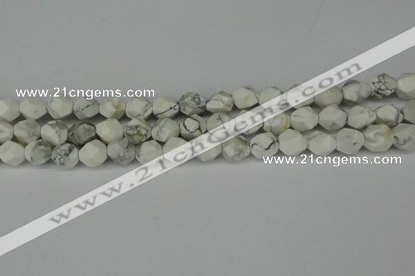 CNG6173 15.5 inches 10mm faceted nuggets white howlite beads