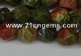CNG6181 15.5 inches 10mm faceted nuggets unakite gemstone beads