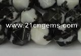 CNG6203 15.5 inches 10mm faceted nuggets black & white jasper beads