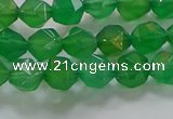 CNG6512 15.5 inches 6mm faceted nuggets green agate beads