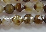 CNG6517 15.5 inches 8mm faceted nuggets line agate beads