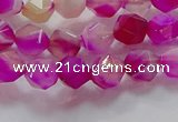 CNG6520 15.5 inches 6mm faceted nuggets line agate beads