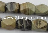 CNG653 15.5 inches 13*18mm faceted nuggets silver leaf jasper beads