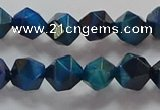 CNG6539 15.5 inches 8mm faceted nuggets blue tiger eye beads
