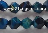 CNG6540 15.5 inches 10mm faceted nuggets blue tiger eye beads