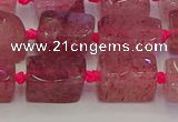 CNG6930 15.5 inches 5*8mm - 8*12mm nuggets strawberry quartz beads