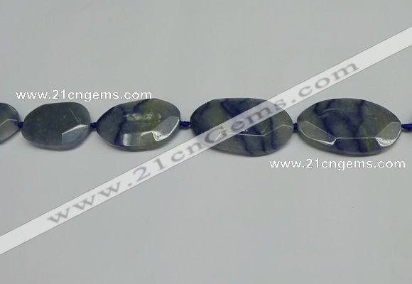 CNG7093 25*35mm - 35*45mm faceted freeform blue aventurine beads