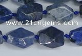 CNG7142 6*10mm - 10*14mm faceted nuggets blue dumortierite beads